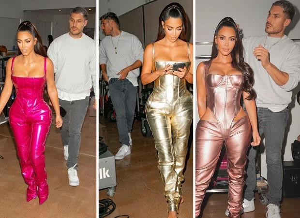 Kim Kardashian's metallic jumpsuit perfectly accentuates her curves