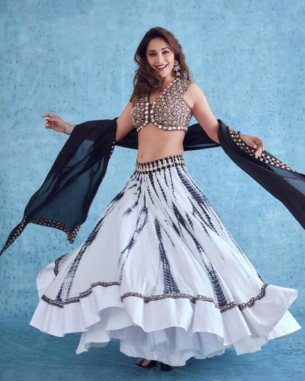 Madhuri Dixit is a pinnacle of extravagance in tie-dye print lehenga worth Rs. 53,760