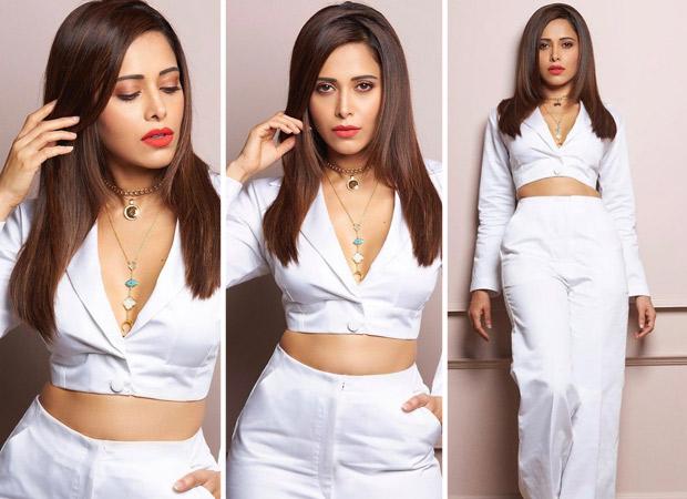 Nushrratt Bharuccha is effortlessly chic in white plunging neckline crop top and high waist pants