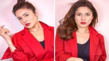 Shehnaaz Gill looks fiery gorgeous in a stunning red blazer