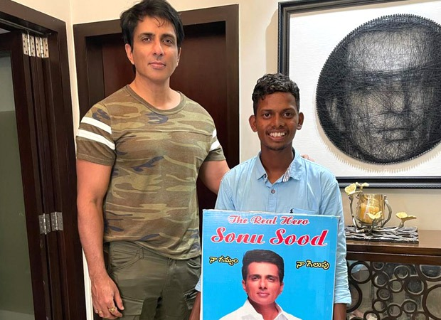Sonu Sood poses with a fan who walked from Hyderabad to meet him; requests fans to not go to such extent