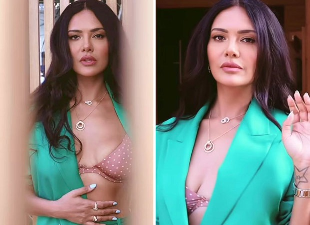 Esha Gupta exudes ultimate diva energy in printed bralette and sea green blazer