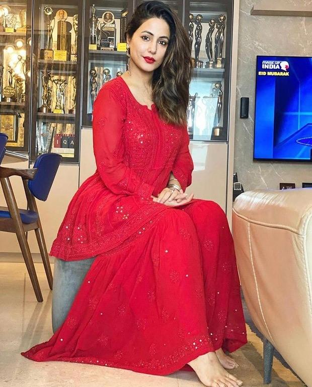 Hina Khan celebrates Eid in fiery red chikankari gharara worth Rs. 6000