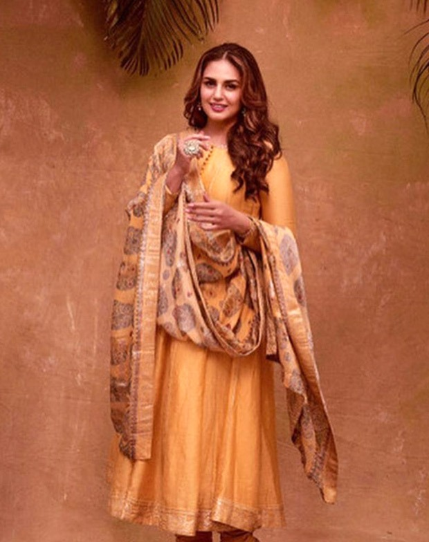 Huma Qureshi looks ethereal in mustard anarkali dress on the occasion of Eid