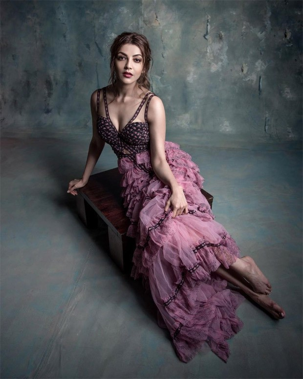 Kajal Aggarwal makes a statement in mauve ruffled tulle dress