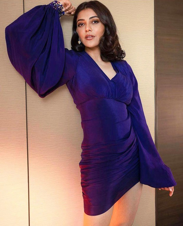 Kajal Aggarwal takes on the dramatic sleeve trend in purple mini dress worth Rs. 24, 000; dons Christian Louboutin metallic heels worth Rs. 68,281