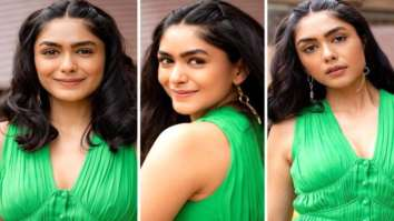 Mrunal Thakur dons dominant green colour for Toofan promotions, opts for pleated midi dress worth Rs. 35,020