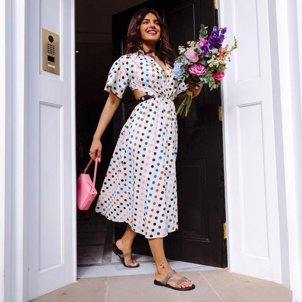 Priyanka Chopra shows how to pair a chic polka dotted dress with Crocs
