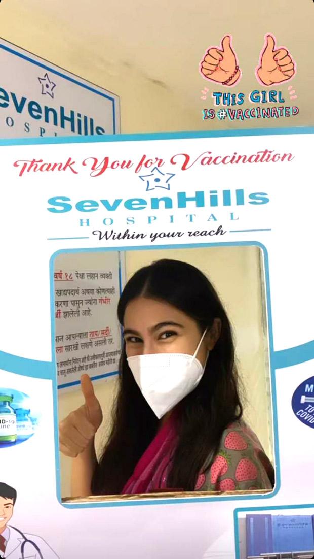 Sara Ali Khan receives first shot of COVID-19 vaccine