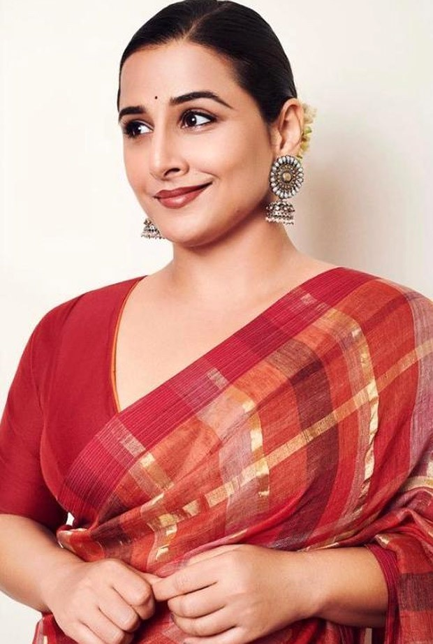 Vidya Balan keeps it stunning in checkered zari saree worth Rs. 23,797