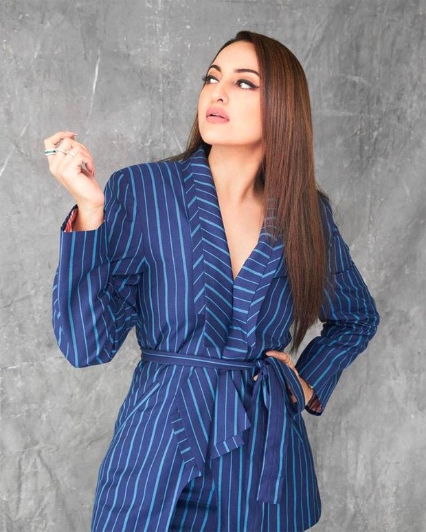 Sonakshi Sinha campaigns in navy blue striped pantsuit from Bhuj: The Pride of India