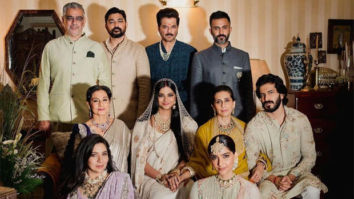 Rhea Kapoor and Karan Boolani's families pose together for a majestic family portrait