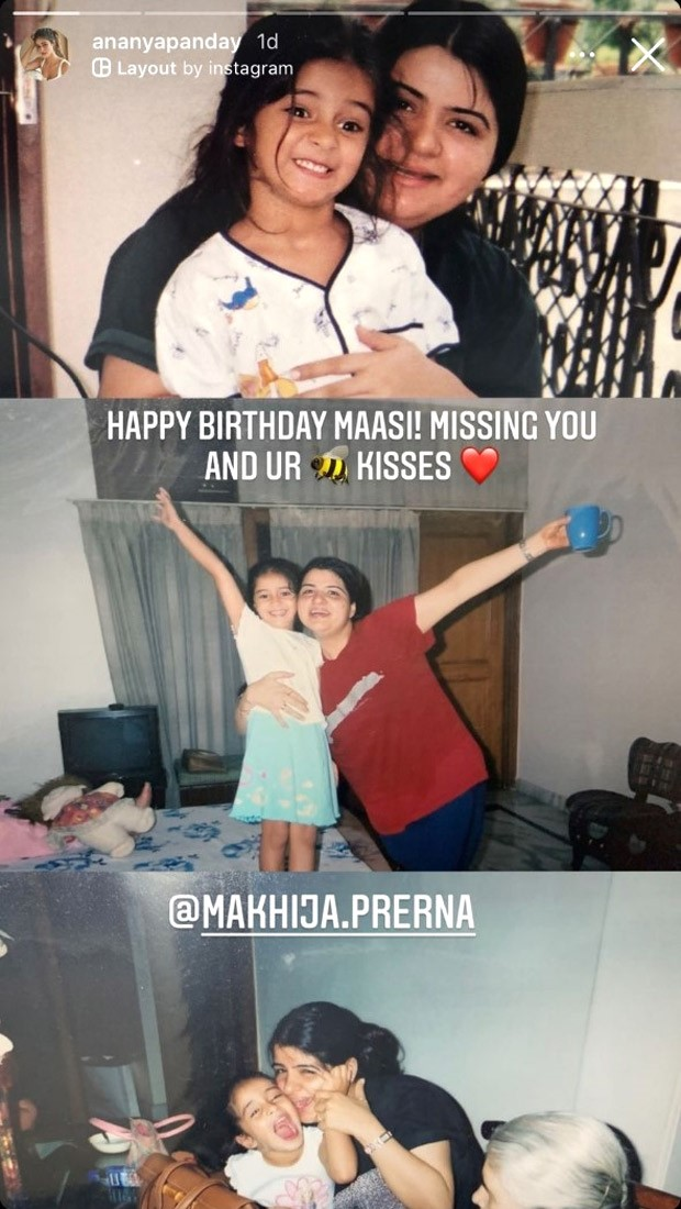 """Ananya Panday sends her Maasi birthday greetings with previously glimpsed childhood photos, writing, """"Missing you"""""""