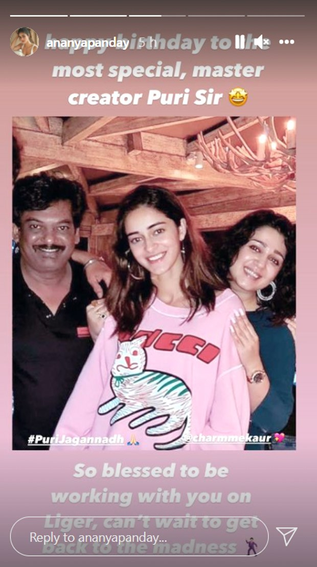 Ananya Panday wishes Liger director Puri Jagannadh on his birthday; says she feels blessed to be working with him on the film
