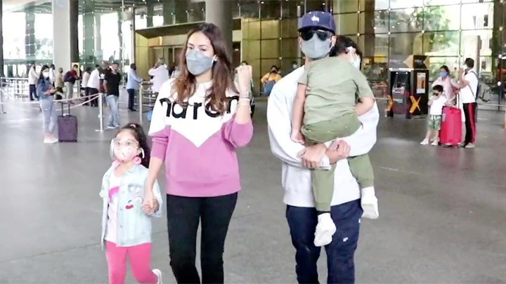Spotted Shahid Kapoor with his family at Mumbai Airport
